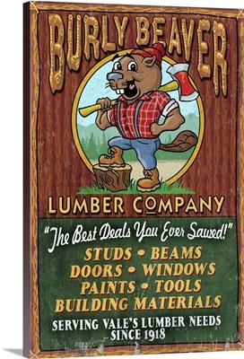 Vale, Oregon - Burley Beaver Lumber Company Vintage Sign: Retro Travel Poster