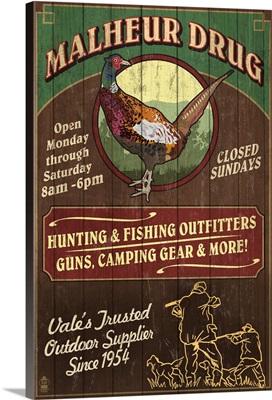 Vale, Oregon - Malheur Drug Pheasant Vintage Sign: Retro Travel Poster