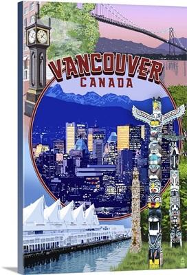 Vancouver, BC - Montage Scenes: Retro Travel Poster