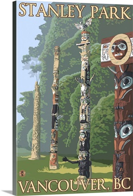 Vancouver, Canada - Stanley Park Totems: Retro Travel Poster
