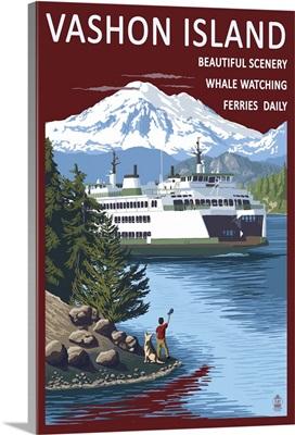 Vashon Island, Washington - Ferry Scene: Retro Travel Poster