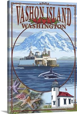 Vashon Island, Washington Views: Retro Travel Poster