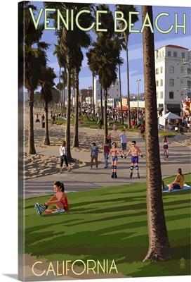 Venice Beach, California - Boardwalk Scene: Retro Travel Poster