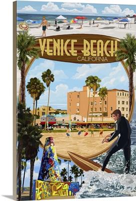 Venice Beach, California - Montage Scenes: Retro Travel Poster