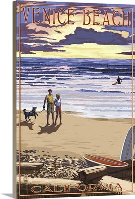 Venice Beach, California - Sunset Beach Scene: Retro Travel Poster