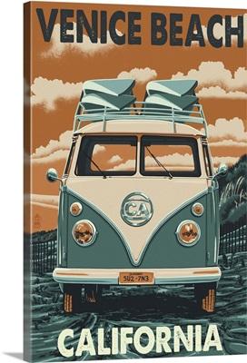 Venice Beach, California - VW Van : Retro Travel Poster