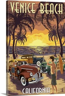 Venice Beach, California - Woodies and Sunset: Retro Travel Poster