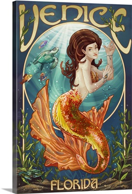 Venice, Florida - Mermaid: Retro Travel Poster
