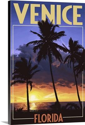 Venice, Florida - Palms and Sunset: Retro Travel Poster