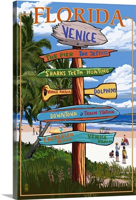 Venice, Florida - Sign Post: Retro Travel Poster
