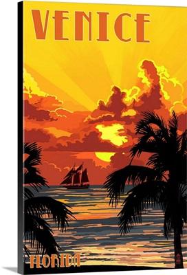 Venice, Florida - Sunset and Ship: Retro Travel Poster