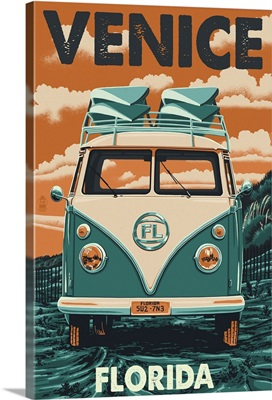 Venice, Florida - VW Van Letterpress: Retro Travel Poster