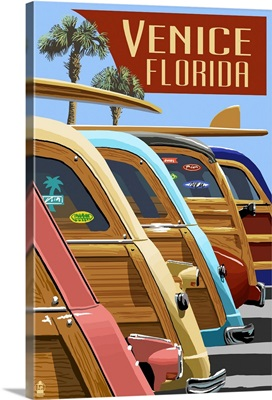 Venice, Florida - Woodies Lined Up: Retro Travel Poster