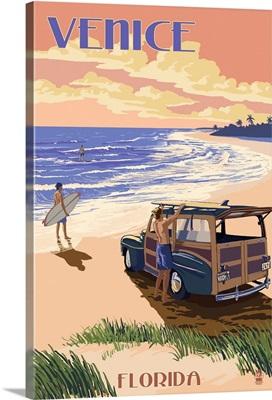 Venice, Florida - Woody On The Beach: Retro Travel Poster