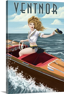 Ventnor, New Jersey - Boating Pinup Girl: Retro Travel Poster