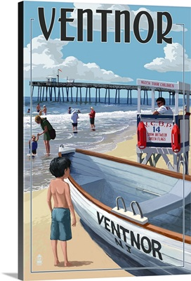 Ventnor, New Jersey - Lifeguard Stand: Retro Travel Poster