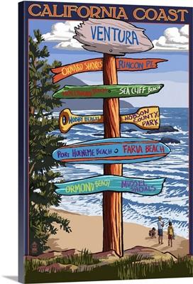 Ventura, California - Destination Sign: Retro Travel Poster