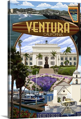 Ventura, California - Montage Scenes: Retro Travel Poster
