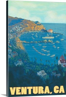Ventura, California - Ocean Scene: Retro Travel Poster