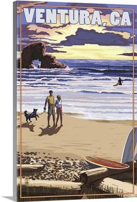 Ventura, California - Surfing Beach Scene: Retro Travel Poster