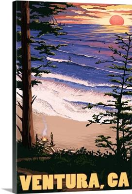Ventura, California - Surfing Sunset: Retro Travel Poster