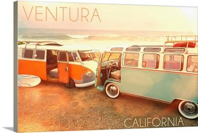 Ventura, California, VW Vans on Beach