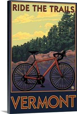 Vermont - Bicycle Scene: Retro Travel Poster