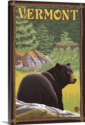 Vermont - Black Bear in Forest: Retro Travel Poster