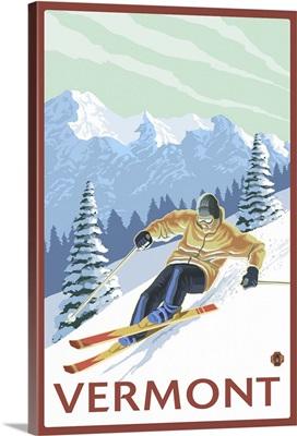 Vermont - Downhill Skier Scene: Retro Travel Poster
