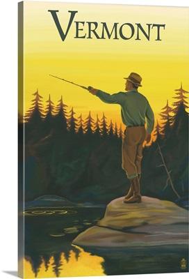 Vermont - Fisherman: Retro Travel Poster