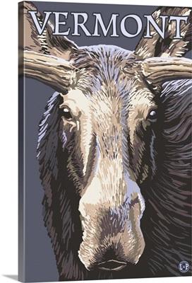 Vermont - Moose Up Close: Retro Travel Poster