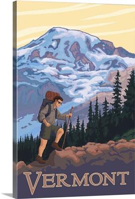 Vermont Mountain Hiker: Retro Travel Poster