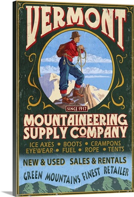 Vermont - Mountaineering Supply Company: Retro Travel Poster