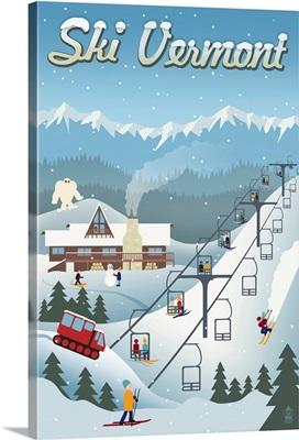 Vermont - Retro Ski Resort: Retro Travel Poster