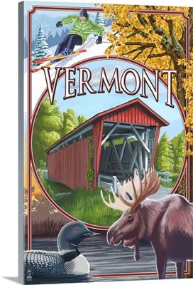 Vermont Scenes: Retro Travel Poster