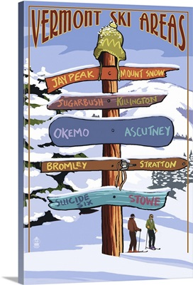 Vermont - Ski Areas Sign Destinations: Retro Travel Poster