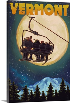 Vermont - Ski Lift and Full Moon: Retro Travel Poster