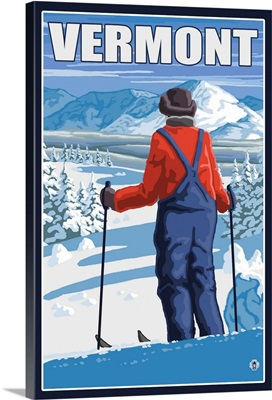 Vermont - Skier Admiring View: Retro Travel Poster