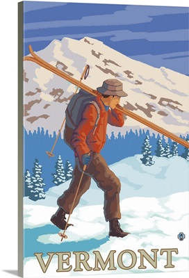 Vermont - Skier Carrying Skis: Retro Travel Poster