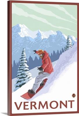 Vermont - Snowboarder Scene: Retro Travel Poster