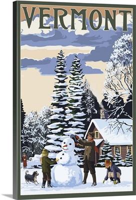 Vermont - Snowman Scene: Retro Travel Poster