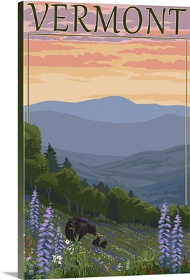 Vermont - Spring Flowers and Bear Family: Retro Travel Poster