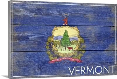 Vermont State Flag on Wood