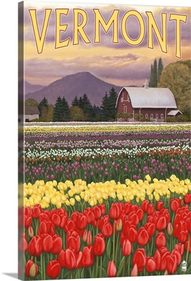 Vermont - Tulip Fields: Retro Travel Poster