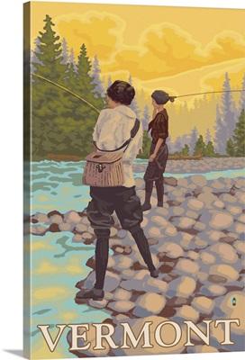 Vermont - Women Fly Fishing Scene: Retro Travel Poster