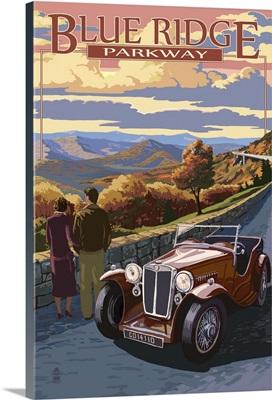 Viaduct Scene at Sunset - Blue Ridge Parkway: Retro Travel Poster