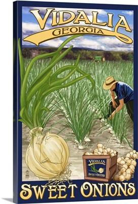 Vidalia, Georgia - Onion Field: Retro Travel Poster