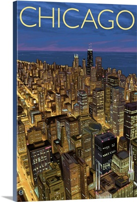 View from Sears Tower Skydeck - Chicago, IL: Retro Travel Poster