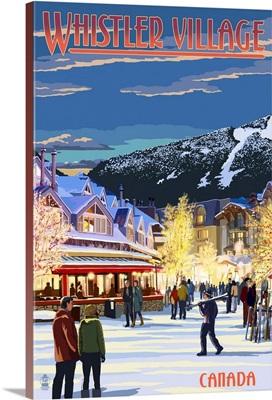 Village Scene - Whistler, Canada: Retro Travel Poster