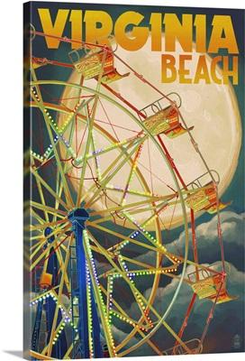 Virginia Beach, Virginia - Ferris Wheen and Full Moon: Retro Travel Poster